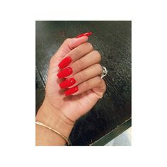 Red Square Tip Acrylic Nails