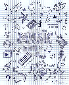 Illustration about Vector illustration of Hand drawn music set. Illustration of … Illustration about Vector illustration of Hand drawn music set. Illustration of baritone, lightning, background – 50721691 Hand Illustration, Doodle Drawings, Doodle Art, Doodle Frames, School Binder Covers, School Book Covers, Music Doodle, School Notebooks, Notebook Covers