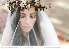 Natural make-up & flower crown   Photo: @Yolandé Marx, Veil: Rosenwerth, Flowers: Flowers in the foyer, Make-up: @Alicia T Buckle