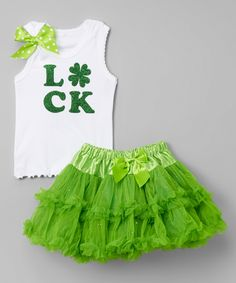 Look what I found on #zulily! White 'Luck' Tank & Green Pettiskirt - Infant, Toddler & Girls by So Girly & Twirly #zulilyfinds