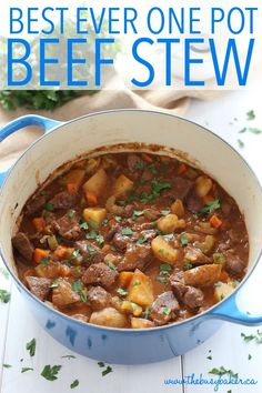 Business Cookware Ought To Be Sturdy And Sensible This Best Ever One Pot Beef Stew Is An Easy, Classic Beef Stew Recipe That Cooks To Perfection On The Stove Top And In The Oven. It's The Best Comfort Food Recipe From Thebusybaker. Beef Stew Stove Top, Easy Beef Stew, Beef Stew Meat, Dutch Oven Beef Stew, Best Beef Stew Recipe Stove Top, Homemade Beef Stew, Beef Stew Crockpot Recipe, Beef Barley Stew Recipe, Venison Stew
