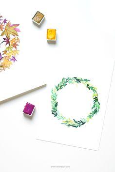 leaf wreath tutorial by Zakkiya Hamza of Inkstruck Studio