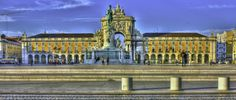 Lisbon. Praça do Comercio seen from the river. One of the most beautiful squares of the world.