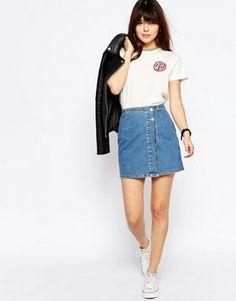 ASOS Denim Pelmet Mini Skirt With Wrap Front In Stone Wash