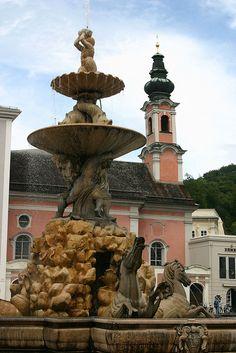 Residenzbrunnen (Residence Fountain). Salzburg, Austria - I photo stalked an adorable little old Austrian lady here...
