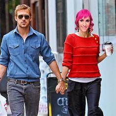 Ryan Gosling and Eva Mendes' Romance Ryan And Eva, Eva Mendes And Ryan, Latest Celebrity News, Celebrity Gossip, Celebrity Photos, Celebrity Couples, Blue Long Sleeve Shirt, Neck T Shirt, Ryan Gosling Baby