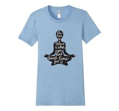"""Women's """"The Time to Relax"""", Lola the Yogini - Yoga T-Shirt Small Baby Blue"""