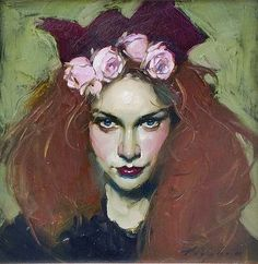 """Malcolm Liepke's """"Flower's in Her Hair"""" 2001, 12 x 12. Love his style. Love how he captures her intensity!"""