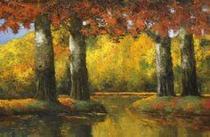 Adrianus Johannes Jacobus 'Janus' de Winter (Netherlands 1882-1951) Autumn Colours oil on canvas 101 x 150 cm