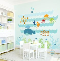 Kids Wall Decal Under The Sea Extra Large Nursery Artwork Wall Sticker for Baby Room Play Room Decals Whale Fish Nautical Baby Room Wall Stickers, Wall Decals For Bedroom, Kids Wall Decals, Art Wall Kids, Kids Artwork, Sticker Mural, Large Artwork, Baby Playroom, Baby Room Diy