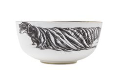 Hot Dog bowl with elegant gold rim. This dachshund is certainly one HOT dog. Lets hope he keeps cool in his sunglasses.