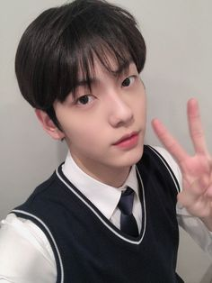 """""""It's Soobin! I had said often that I wanted to wear uniform so I'm really happy that I got to wear it often for these promotions hehe Today's fansign was fun as well! Everyone sleep well~"""" Giant Bunny, Types Of Boyfriends, Chuu Loona, The Dream, Fandom, Dimples, Kpop Groups, South Korean Boy Band, Boyfriend Material"""