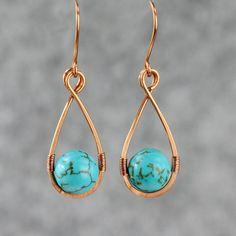 Fil de cuivre turquoise larme enveloppé boucles par AnniDesignsllc