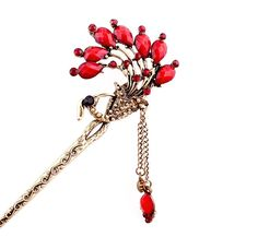 New Girl Women Fashion Red Rhinestone Peacock Ladies Hair Stick Hairpin 17 #Unbranded