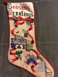 Christmas Season's Greetings Needlepoint Stocking Metallic Girl Boy Present Gift   eBay