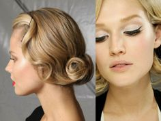 softly curled and pinned hair, and a feminine cat eye
