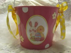 ersonalized Easter Basket. This 5-quart personalized bucket is a great size for your Easter Egg hunt. After Easter, the bucket would be a fun storage container! This is a design for a pink bucket it will have coordinating ribbon and dots ! This also can have Baby's First Easter printed on it!  ~ PRODUCT DETAILS ~ Metal buckets are powder-coated with durable paint and are personalized a custom decal. They are sealed for extra durability I will add coordinating ribbon.
