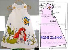 A publicação de hoje contempla o molde vestido de criança sereia para meninas com idade de 5 anos. A ilustração do molde não tem valor de costura tem...