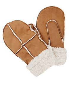 Stone Shearling Lined Mittens | New Look