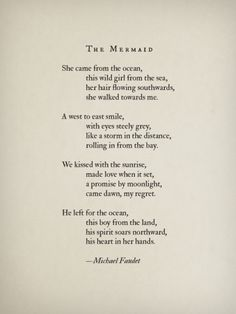 The Mermaid by Michael Faudet.  It's the story of the Little Mermaid, if the Prince and chosen left her after their first meeting.