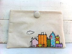 Ipad cover - cityscape - freehand machine embroidered - by SnugglesandSmiles on madeit