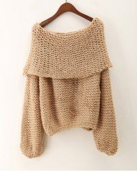 Stylish Off-The-Shoulder Long Sleeve Loose-Fitting Sweater For Women