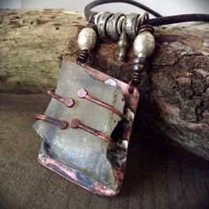 Rustic recycled glass and grungified copper necklace
