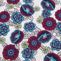 Lilio Retro Floral Cotton Lawn Fabric