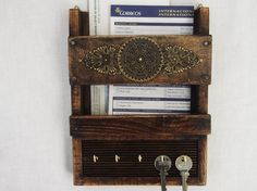 Rustic Wooden Mail Organizer Wall Hanging Mail by RegalosRusticos