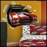 Hot wheels vintage bedding set muscle cars comforter for Car crashing through wall mural