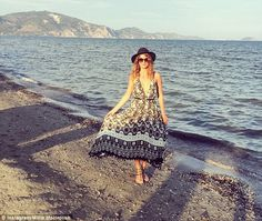 Stunning: The former Made In Chelsea star wrote about the 'beautiful sunset' as she posed ...