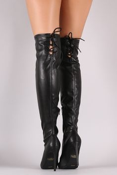 Anne Michelle Back Lace Up Pointy Toe Stiletto Boots