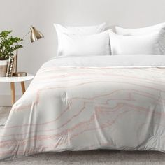 5e63a3d0cd1c Willa Arlo Interiors Kanode Blush Marble Comforter Set Size  Full Queen