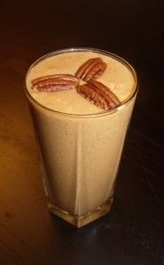 Pumpkin Smoothie.  Just blend 1 banana, 1 C coconut milk, 3/4 C pumpkin puree, 1 tsp cinnamon, 1/2 tsp nutmeg.  Delish!