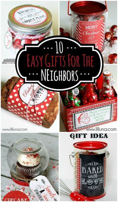 10 Easy Neighbor Gifts - Cute & simple ideas for neighborhood gifts during the holiday season! { lilluna.com }