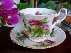 Royal-Albert-England-bone-china-HIGHLAND-THISTLE-cup-and-saucer