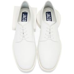 Jacquemus White Clown Derbys Leather Oxford Shoes (3,690 HKD) ❤ liked on Polyvore featuring shoes, oxfords, white, white leather oxfords, laced shoes, leather oxfords, white oxford shoes and lace up oxfords