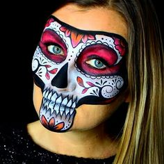 Face and Body Paint by me. I painted a Sugar Skull design on my own face. I used water based face paint and Starblends by Mehron.