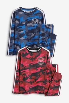 Buy Red/Blue 2 Pack Camo Print Pyjamas from the Next UK online shop