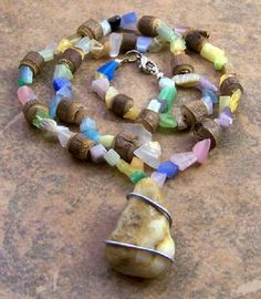 Pink Blue Green Glass Brown Wood Beaded Necklace Wire Wrapped Rock Pendant