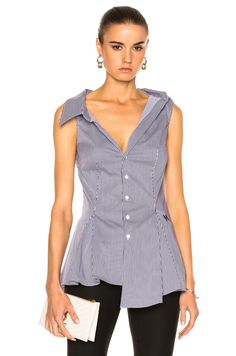 Image 1 of Monse Striped Cotton Top in Navy & White