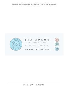 Brand Design for Eva Adams Collateral Design, Brand Identity Design, Brand Design, Signature Ideas, Signature Design, Digital Signature, Logo Design Tips, Graphic Design, Thank You Card Design