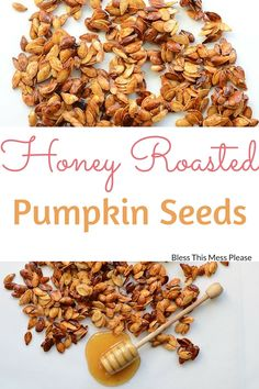 A favorite roasted pumpkin seeds recipe! Honey Roasted Pumpkin Seeds are a healthy snack & a great way to use up the seeds from your Jack-O-Lantern. Roasted Pumpkin Seeds Cinnamon, Toasted Pumpkin Seeds, Roast Pumpkin, Baked Pumpkin, Pumpkin Recipes, Fall Recipes, Baking Pumpkin Seeds, Best Pumpkin Seed Recipe, Roasting Pumpkin Seeds Recipe