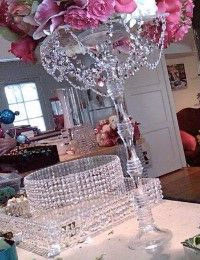 Centerpiece & cake stand Crystal and Flowers. DIVA