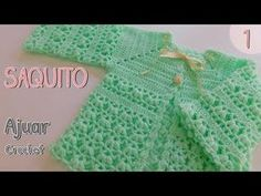 Cómo tejer un ajuar: bolso de ganchillo o suéter - Crochet Enfant Crochet Baby Blanket Beginner, Baby Girl Crochet, Crochet For Kids, Love Crochet, Crochet Baby Sweaters, Crochet Baby Clothes, Baby Knitting, Gilet Crochet, Knit Crochet