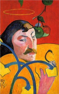 """""""Self Portrait with Halo"""" (1889) by Paul Gauguin."""