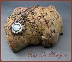 Small necklace with opalite. Macrame woven. Brown by RioDeMagma