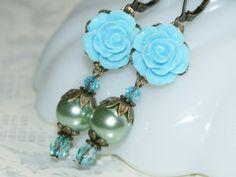 Flower Dangle Earrings  Romantic Jewelry  Teal by judysmithdesigns, $16.00
