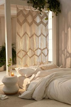 Urban Outfitters Meadowsweet Macramé Panel Bohemian home decor. Living room decor Urban Outfitters Meadowsweet Macramé Panel Bohemian home decor. Boho Curtains, Beaded Curtains, Bedroom Curtains, Macrame Curtain, Curtains Living, Curtains To Cover Closet, Wall Curtains, Neutral Curtains, Patterned Curtains