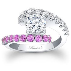 Barkev's 14K White Gold Round Cut Pink Sapphire and Diamond Prong Set Bypass Engagement Ring